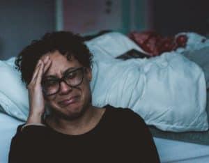woman on verge of tears