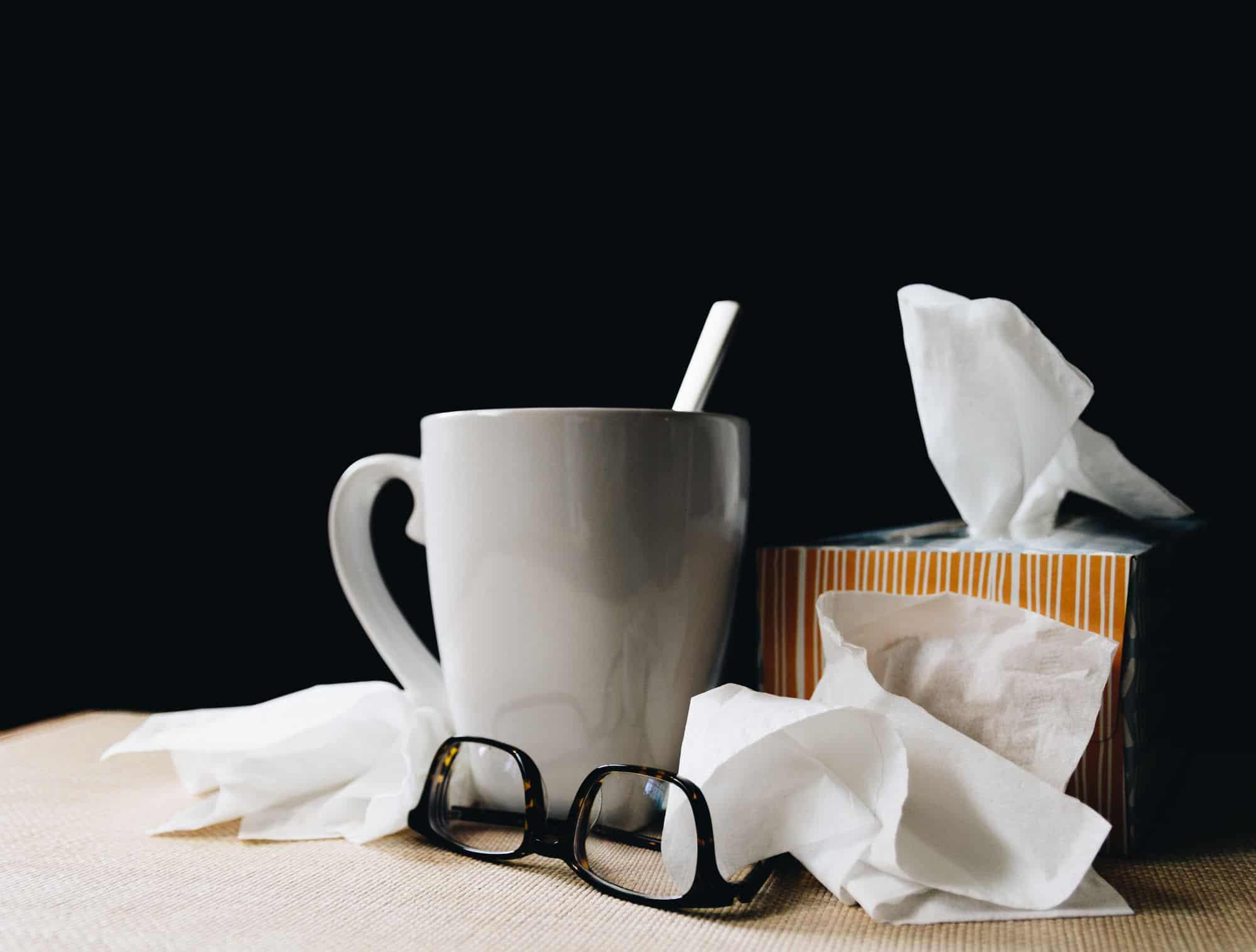 mug and tissues