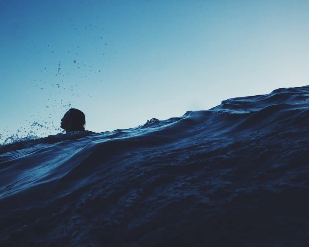 person treading water