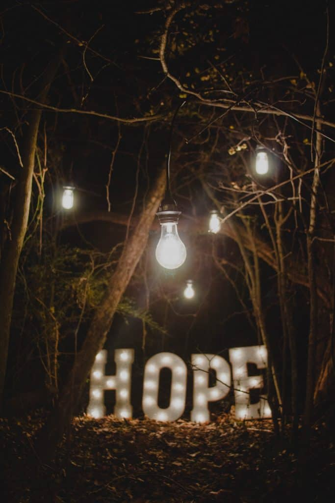 a woods, with the word 'hope' lit up on the ground