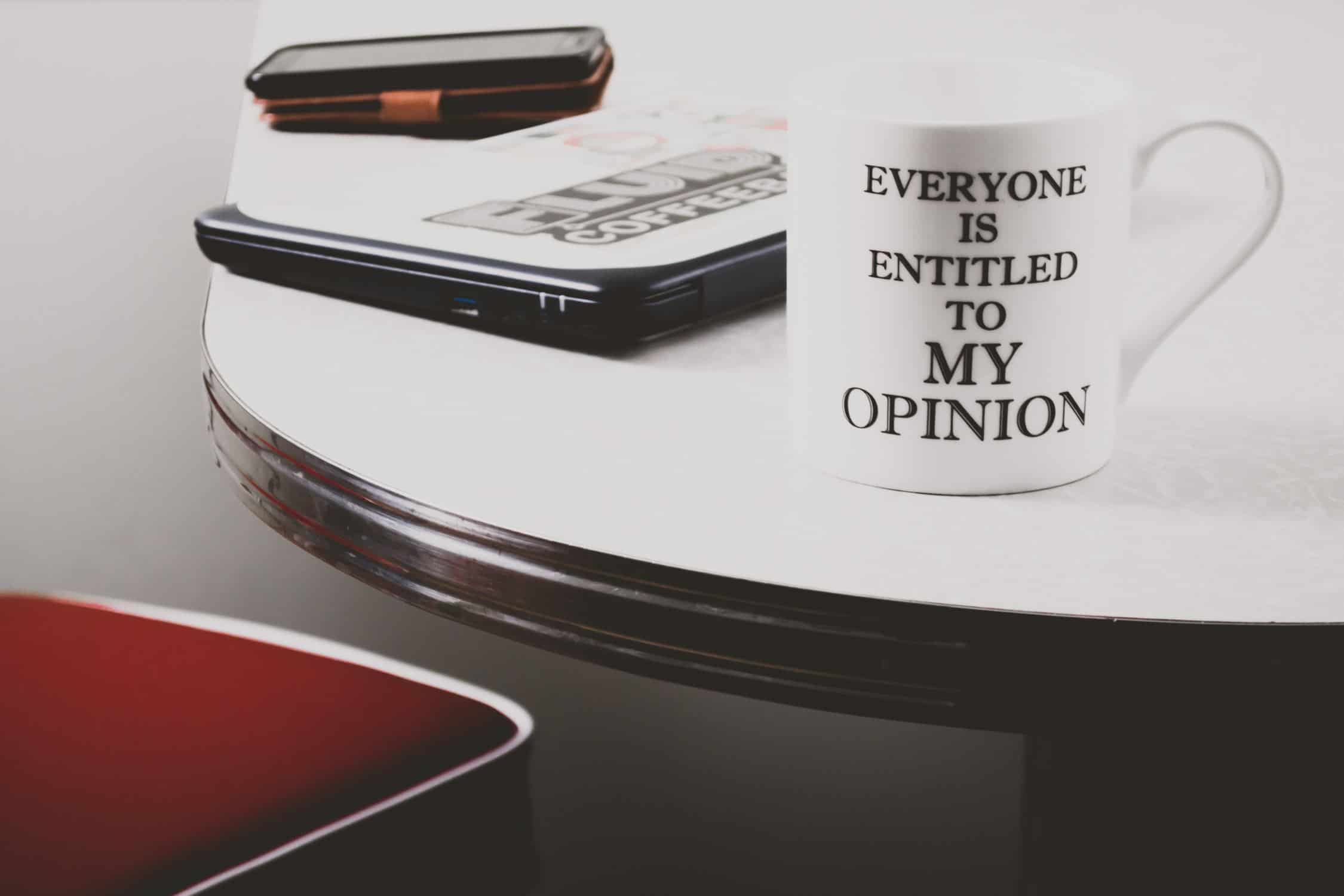 mug with writing on it 'Everyone is entitled to MY opinion'