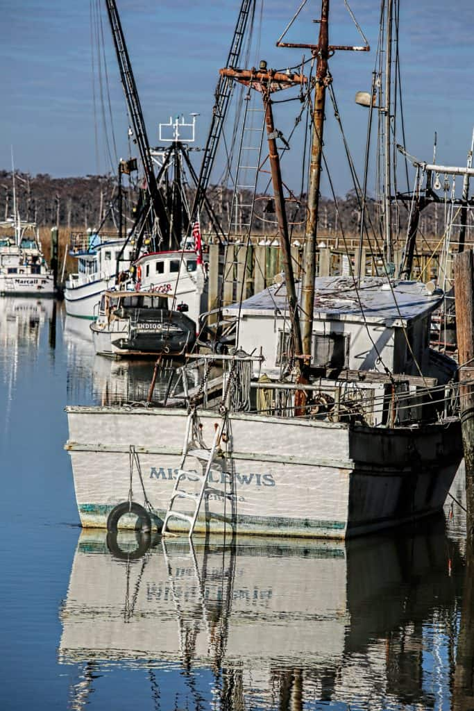 shrimp boat on a dock with other boats in the background