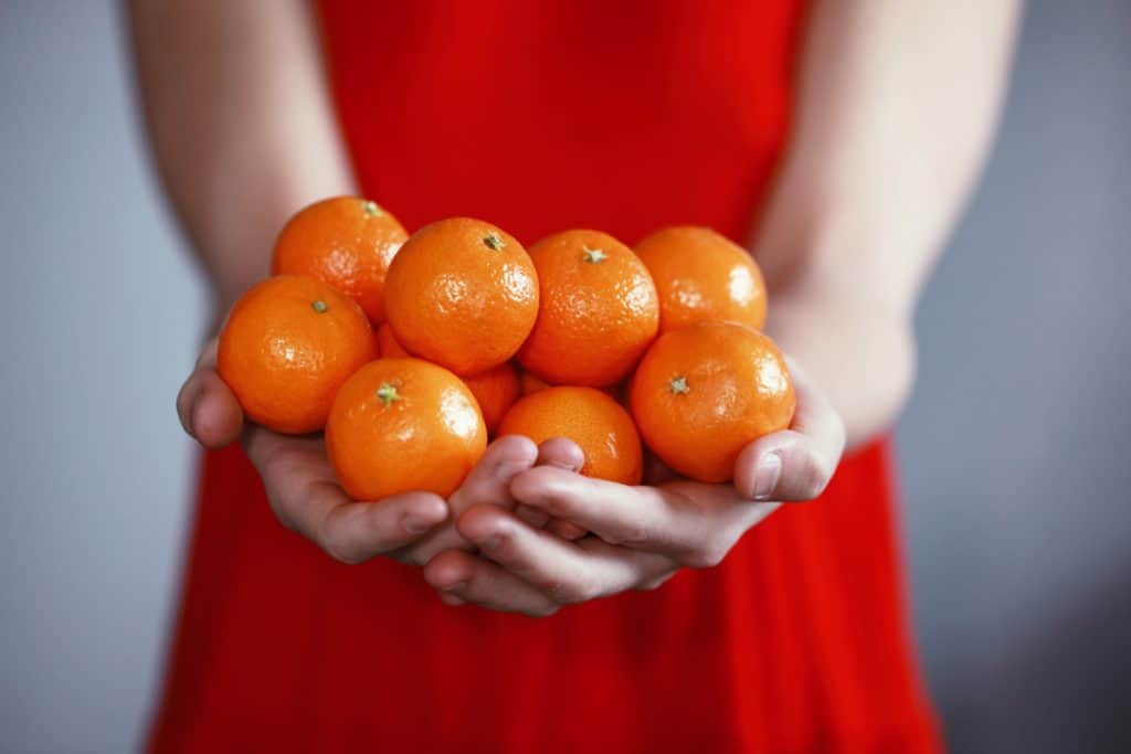 woman in red dress holding small oranges