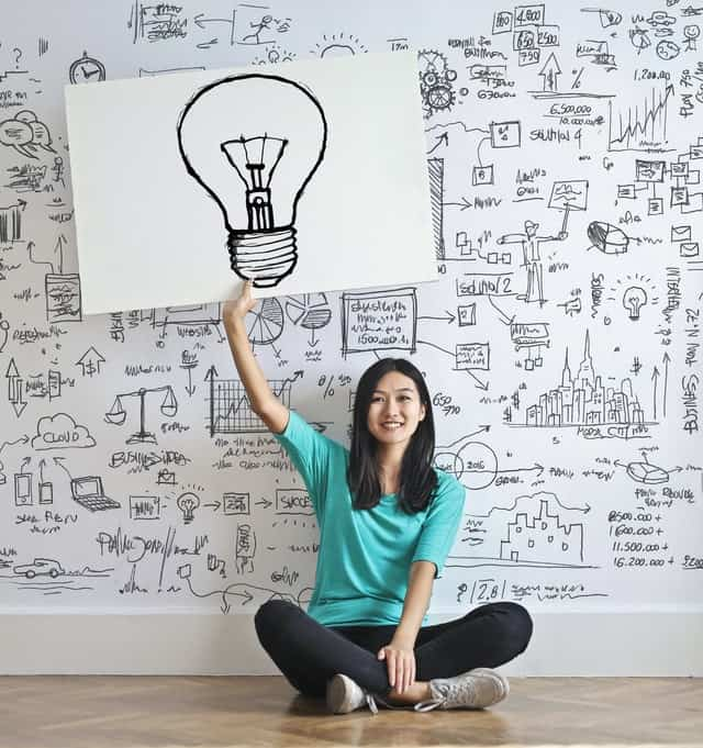 Asian woman holds up an drawn picture of a lightbulb.  The wall behind her is white and covered with similarly styled sketches