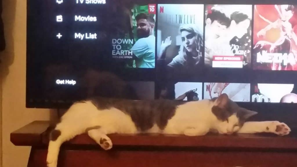 Rorschach lies stretched out in front of the television, looking thoroughly exhausted