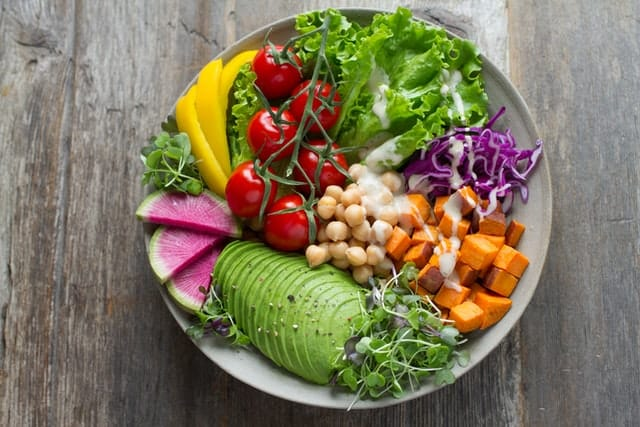 Vegan salad bowl with a variety of colorful vegetables