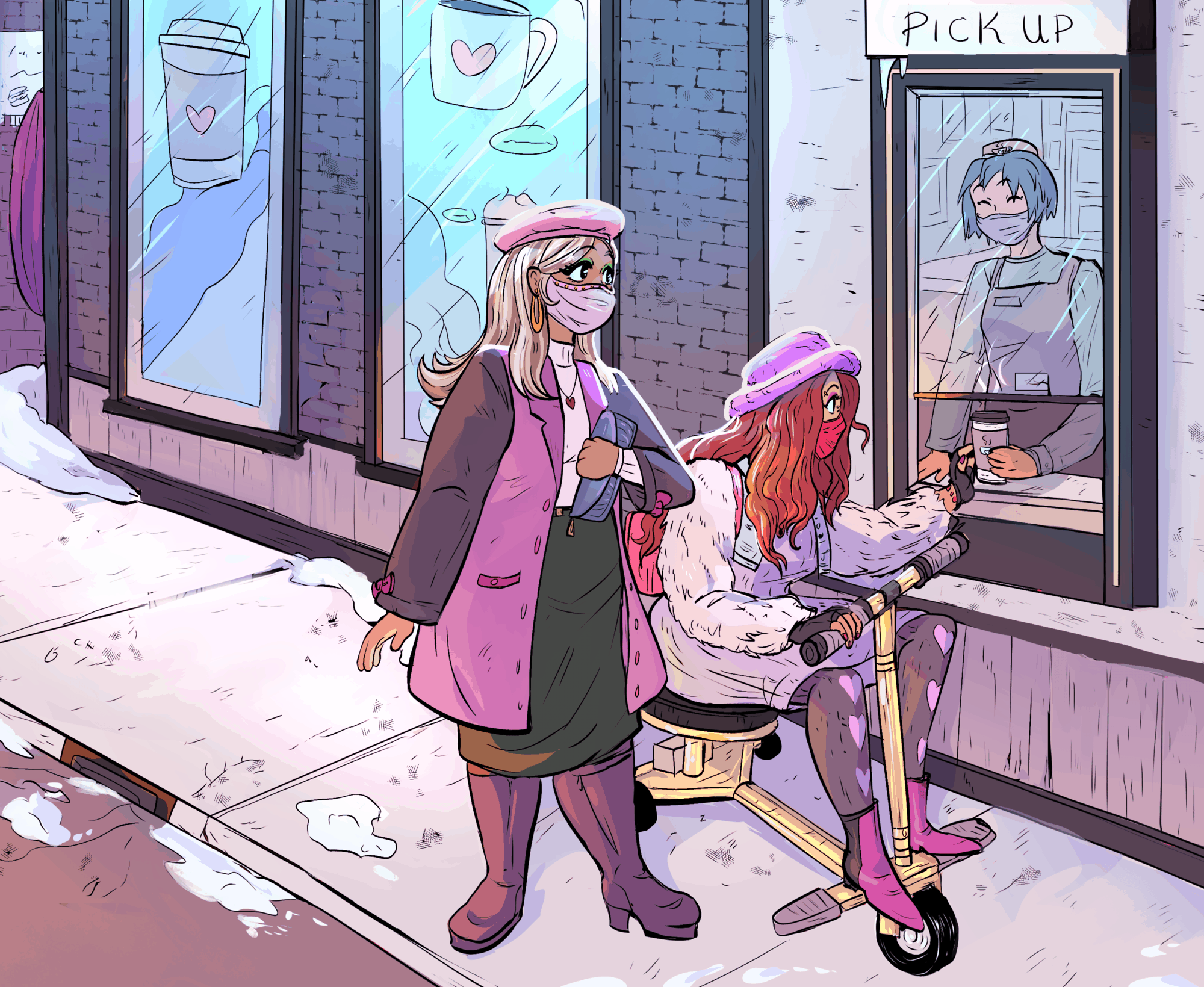 Two chic Black women grab coffee from an outdoor pick-up window. The woman closest to the barista is in a gold-customized travel mobility scooter and wears a fuzzy purple bucket hat, sweater dress, pink backpack, and red face mask. Next to her, the second woman waits in a pink coat and beret. Bits of snow gather on the ground and sidewalk while the cafe's windows are decorated with coffee decals.