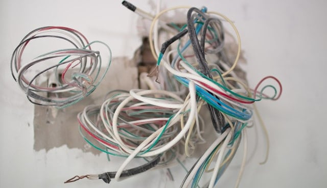 a collection of wires loop together, looking a bit disorganized