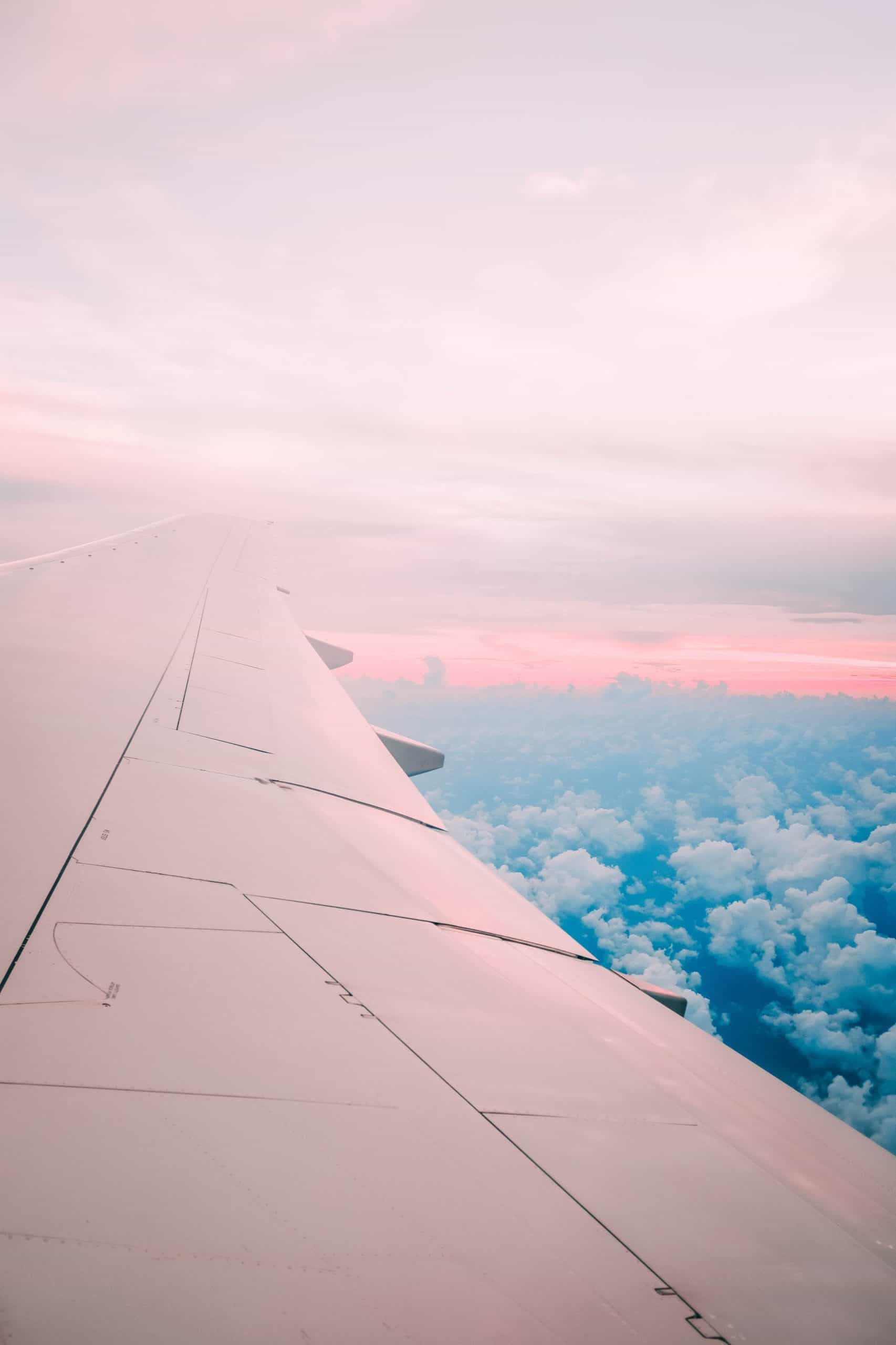 view through the window of a plane. The wing is central to the image, and colored pink, reflecting the early-morning light