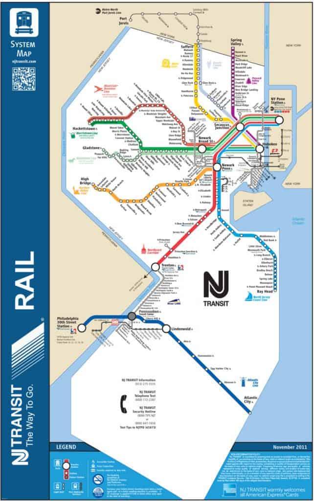 New Jersey Transit's train and light rail map